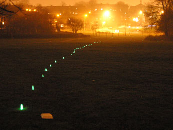 Image of a path of glow sticks in park with city lights glowing in background