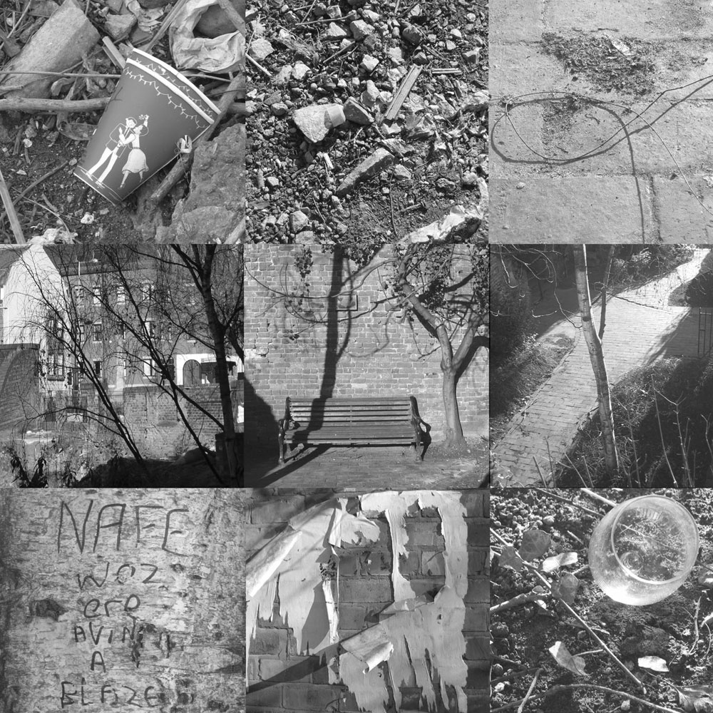 Black & White design of outside folded cover.  Featuring different objects/images taken of site before gallery was built