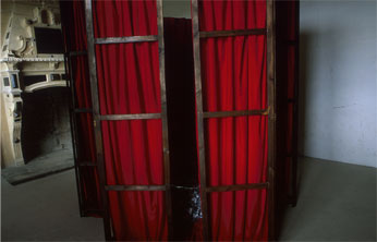 wooden screens with small gap - with pleated red velvet