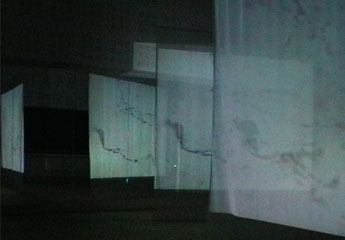 Screens with video projection in dance studio, reflected in mirror