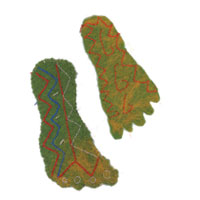 a pair of embroidered handmade green felt feet