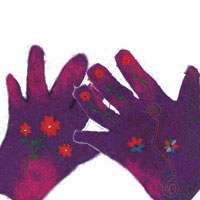 a pair of embroidered purple felt hands